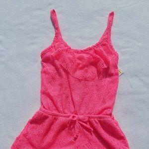 Girls Lemon Kiss Neon Pink Romper XS 4/5